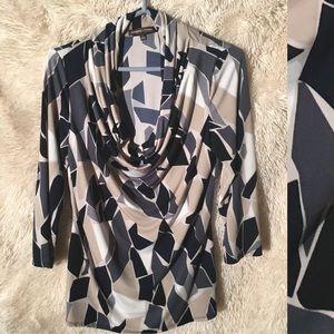 Adrienne Vittadini 3/4 Sleeve Cowl Neck Dress Top